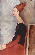 Amedeo Modigliani Portrader Jeanne Heuterne in dunkler Kleidung oil painting reproduction