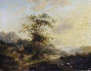 Andreas Schelfhout Travellers on a country lane oil painting