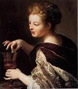 Anthoni Schoonjans Cleopatra puts a pearl in the wine oil painting