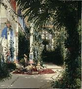 Carl Blechen The Interior of the Palm House on the Pfaueninsel Near Potsdam oil painting reproduction