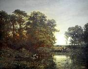 Charles Francois Daubigny Landscape with a pond oil painting reproduction