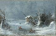 Cornelius Krieghoff The Blizzard oil painting reproduction
