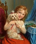 Fritz Zuber-Buhler Young Girl with Bichon Frise oil painting reproduction
