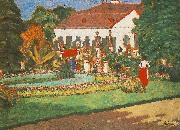 Jozsef Rippl-Ronai Manor-house at Kortvelyes oil painting reproduction
