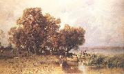 Meszoly, Geza Fishermens Hut at the Lake Balaton oil painting