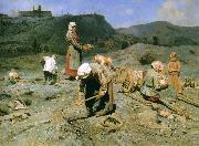 Nikolay Bogdanov-Belsky Poor Collecting Coal oil painting