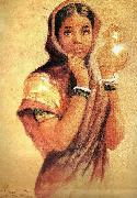 Raja Ravi Varma The Milkmaid oil painting reproduction