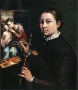 Sofonisba Anguissola Self-portrait at the easel. oil painting