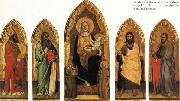 Andrea di Orcagna Madonna and Child Enthroned with Two Angels and SS.Andrew,Nicholas,john the Baptist and James oil painting