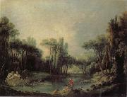 Francois Boucher Landscape with a Pond oil painting reproduction
