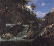 Jan Asselijn Landscape with Waterfall oil painting reproduction