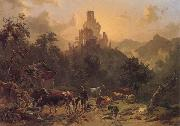 Johann Nepomuk Rauch Landscape with Ruins oil painting reproduction
