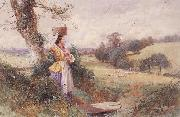 Myles Birket Foster,RWS The Milkmaid oil painting reproduction