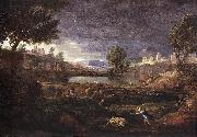 POUSSIN, Nicolas Strormy Landscape with Pyramus and Thisbe oil painting