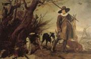 WILDENS, Jan A Hunter with Dogs Against a Landscape oil painting