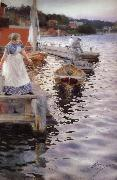 Anders Zorn Vagskvalp(Lappings of the waves) oil painting reproduction