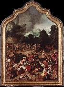 Lucas van Leyden ipping of the Golden Calf oil painting