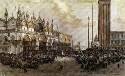 Luigi Querena The People of Venice Raise the Tricolor in Saint Mark's Square oil painting