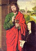 Master of Moulins Anne of France presented by Saint John the Evangelist oil painting