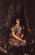 Mikhail Vrubel Girl Against a perslan carpet oil painting reproduction