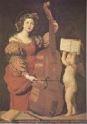 Domenichino Cecilia with an angel Holding Music (mk05) oil painting