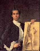 Melendez, Luis Eugenio Portrait of the Artist Holding a Life Study oil painting