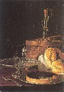 Melendez, Luis Eugenio Still-Life with a Box of Sweets and Bread Twists oil painting