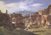 Achille-Etna Michallon Ruins of the Theater at Taormina (Sicily) (mk05) oil painting