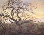 Caspar David Friedrich Tree with Crows Tumulus(or Huhnengrab) beside the Baltic Sea with Rugen Island in the Distance (mk05) oil painting