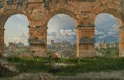 Christoffer Wilhelm Eckersberg View through three northwest arches of the Colosseum in Rome.Storm gathering over the city (mk09) oil painting
