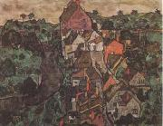 Egon Schiele Krumau Landscape (Town and River) (mk09) oil painting