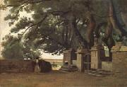 Jean Baptiste Camille  Corot A Gate Shaded by Trees also called Entrance to the Chateau Breton Landscapee (mk05) oil painting reproduction