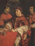 Raphael Pope Leo X with Cardinals Giulio de'Medici (mk08) oil painting reproduction