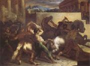 Theodore   Gericault Race of Wild Horses at Rome (mk05) oil painting reproduction