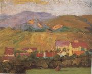 Egon Schiele Village with Mountain (mk12) oil painting