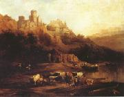Jenaro Perez Villaamil Herd of Cattle Resting on a Riverbank in Front of a Castle (mk22) oil painting