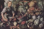 Joachim Beuckelaer Market Woman with Fruit,Vegetables and Poultry (mk14) oil painting