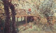 Telemaco signorini The Wooden Footbridge at  Combes-la-Ville (nn02) oil painting