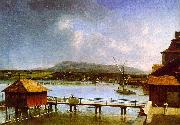 Francois  Ferriere The Old Port of Geneva oil painting