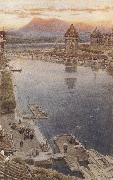 Albert goodwin,r.w.s Lucerne,Switzerland (mk37) oil painting