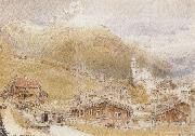 Albert goodwin,r.w.s A Sunday Morning in Engelberg,Switzerland (mk37) oil painting