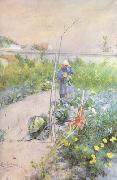 Carl Larsson In the Kitchen Garden (nn2 oil painting