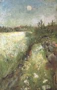 Edvard Munch Flowering Meadow at Veierland (nn02 oil painting