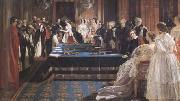 Edward Matthew Ward The Investiture of Napoleon III with the Order of the Garter 18 April 1855 (mk25) oil painting reproduction
