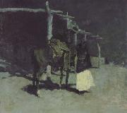 Frederic Remington Waiting in the Moonlight (mk43) oil painting reproduction