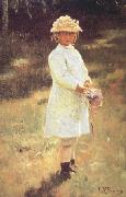 Ilya Repin Girl with a Bouquet (Vera,the Artist's Daughter) (nn02) oil painting