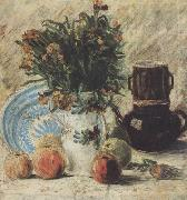 Vincent Van Gogh Vase with Flowers Coffeepot and Fruit (nn04) oil painting reproduction