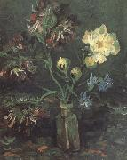 Vincent Van Gogh Vase with Myosotis and Peonies oil painting reproduction