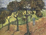 Vincent Van Gogh Landscape with Tree and  Figures (nn04) oil painting reproduction