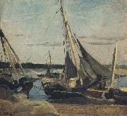 camille corot Trouville Fishing Boats Stranded in the Channel (mk40) oil painting